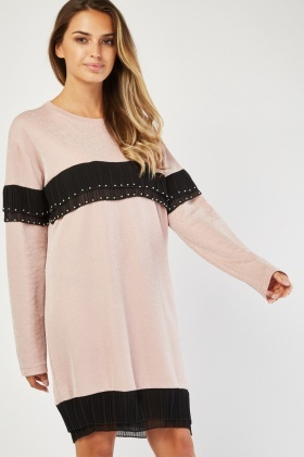 Studded Pleated Trim Lurex Dress