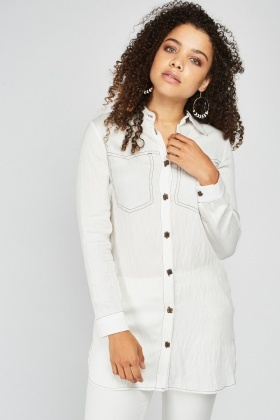 Top-Stitched Crinkle Shirt