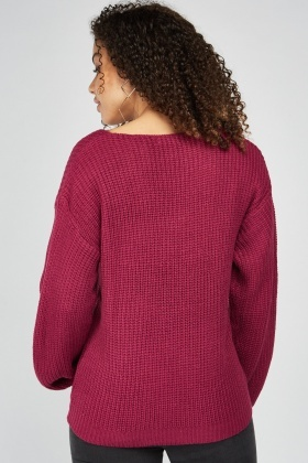 V-Neck Herringbone Knit Jumper