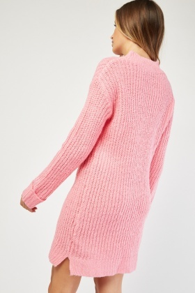 V-Neck Knitted Jumper Dress