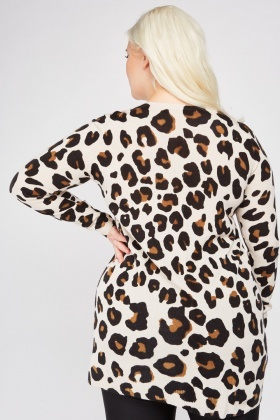 V-Neck Leopard Jumper