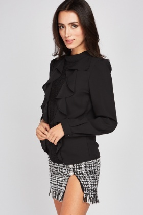 Black Ruffle Lace Panel Blouse