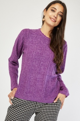 Contrasted Patterned Knit Jumper