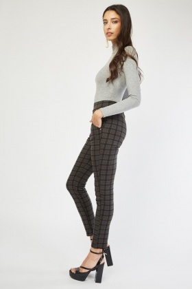 Decorative Trim Woven Tartan Trousers