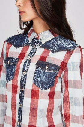 Faded Denim Effect Shirt