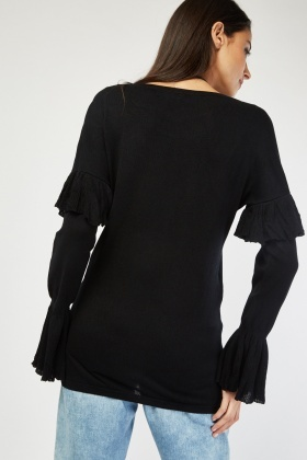 Flared Sleeve Knit Sweater
