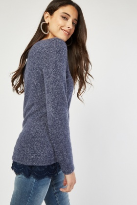 Lace Underlay Speckled Jersey Top