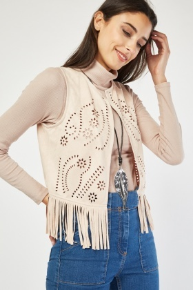 Laser Cut Fringed Suedette Waist Coat