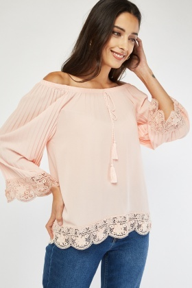 Off Shoulder Crochet Trim Top