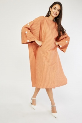 Oversize Sheer Batwing Sleeve Dress