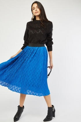 Pleated Blue Lace Skirt