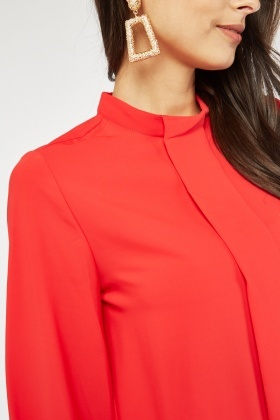 Pleated Front Silky Blouse