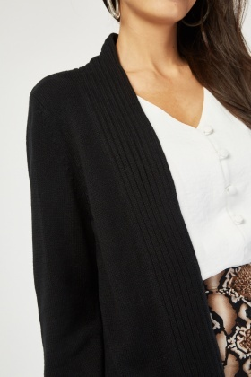 Ribbed Contrast Knitted Cardigan