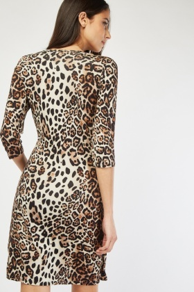 Ruched Leopard Print Wrap Dress