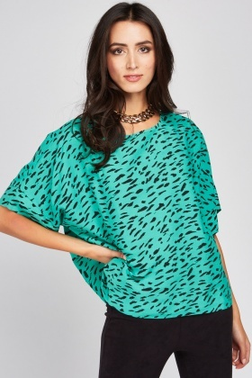 Scattered Print Slouchy Blouse