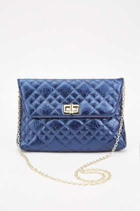Blue Quilted Chain Shoulder Bag