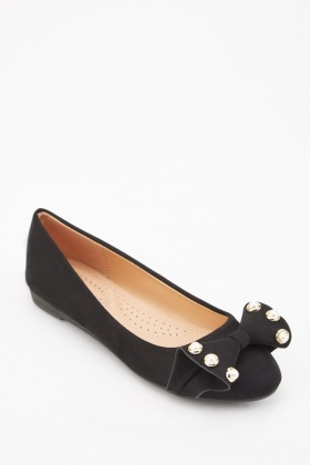 Faux Pearl Studded Ballet Pumps