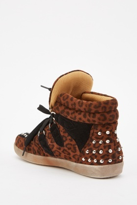 High Top Animal Print Trainers