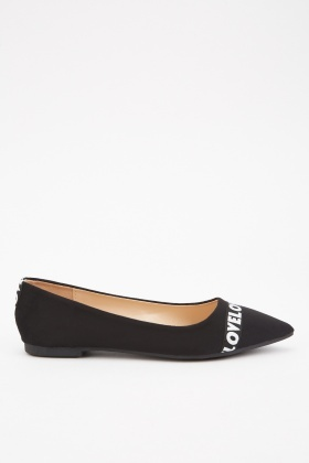 Logo Printed Suedette Flats