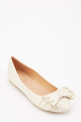 Shimmery Faux Pearl Ballet Pumps