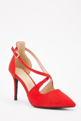 Suedette Cross Strap Court Heels