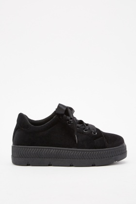 Velveteen Lace Up Platformed Trainers