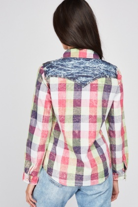 Checkered Denim Effect Shirt