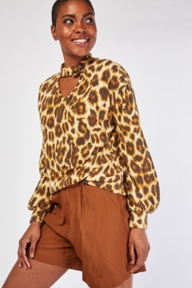 Choker-Neck Leopard Fleece Top