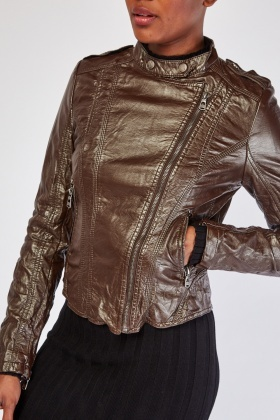 Crinkle Brown Faux Leather Jacket
