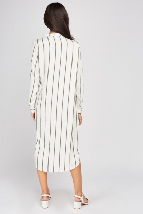 Curved Hem Stripe Shift Dress