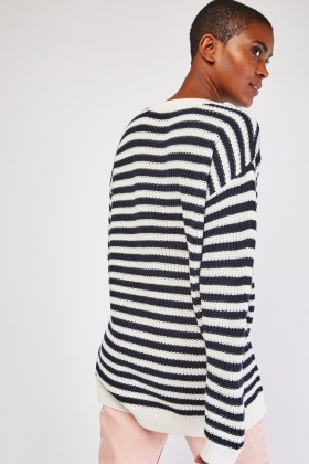 Embroidered Chunky Stripe Jumper