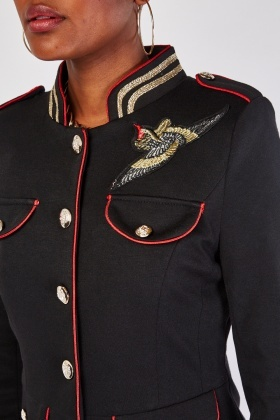 Embroidered Trim Military Jacket