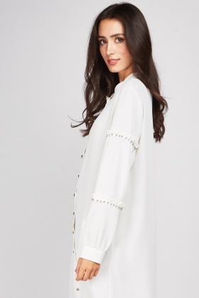 Encrusted Frilly Sleeve Shift Dress