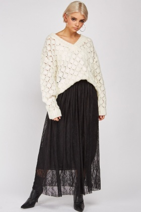 Lace Patterned Maxi Skirt