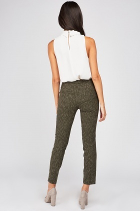 Metallic Speckled Pattern Trousers