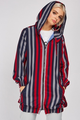 Multi Striped Hooded Jacket