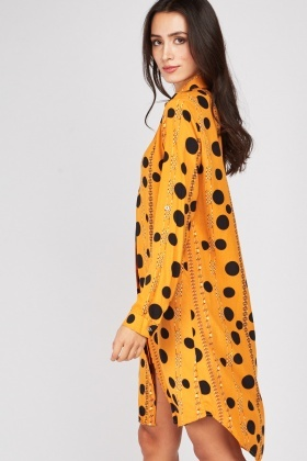 Polka Dot Chain Print Shirt Dress