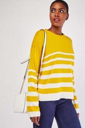 Ribbed Neck Stripe Sweater