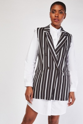 Stripe Double Breasted Sleeveless Blazer