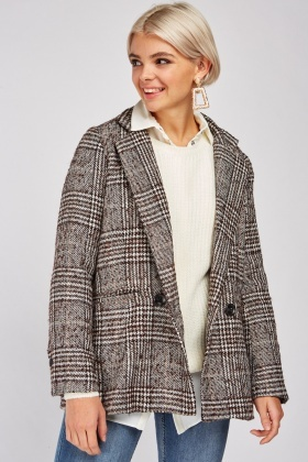 Double Breasted Houndstooth Pattern Jacket