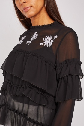 Embroidered Ruffle Trim Top