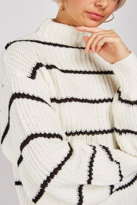 Herringbone Knit Striped Jumper