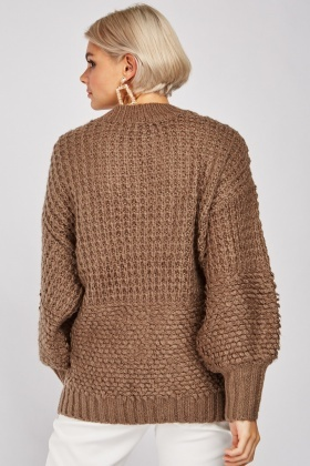High Neck Mix Knit Jumper