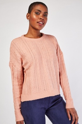 Perforated Cable Knitted Jumper