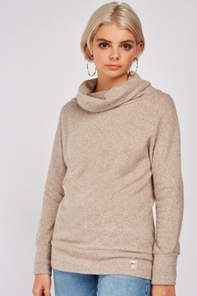 Slouchy Neck Speckled Knitted Jumper