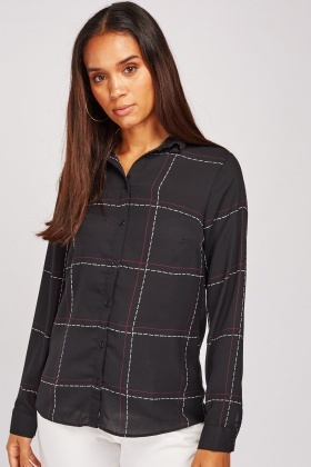 Stitch Effect Sheer Shirt