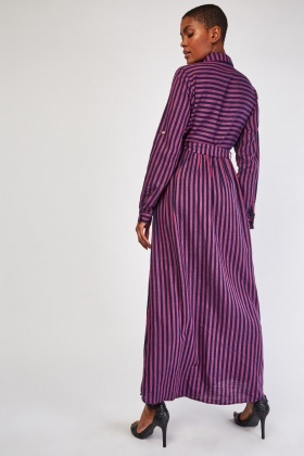 Striped Maxi Shirt Dress