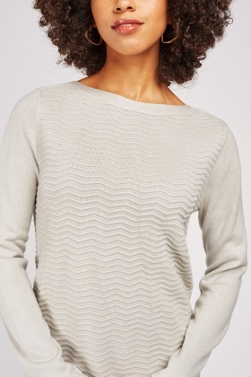 Zig Zag Pattern Knitted Sweater
