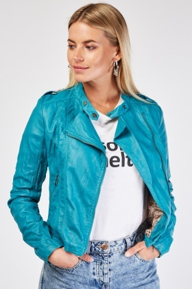 Crinkled Faux Leather Biker Jacket