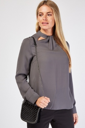 Cut Out Front Dark Grey Blouse